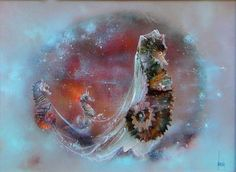 Marriage of seahorses, oil on canvas
