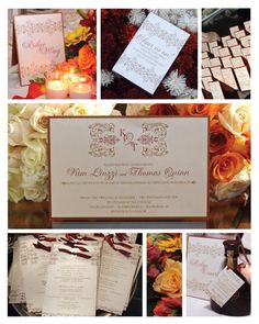 Wedding invite & stationery...great fall wedding color scheme...copper, rust and champagne!