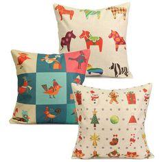Colorful Christmas Horse Bird Pillow Case Square Home Sofa Car Cushion Cover - Gchoic.com