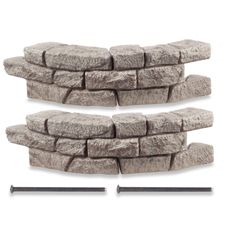 looks and feels like stone, but it's not. sold by Bed Bath and Beyond, this border/wall faux stone interlocks to make things like retaining walls, raised garden beds, sand boxes, etc.