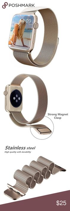 38mm Retro Gold Magnetic Apple Watch Band Brand New 38mm Retro Gold Stainless Steel Milanese Apple Watch Band with Magnetic Closure  (Watch is not included) Great Gift for your friends and Love ones !!! Accessories Watches