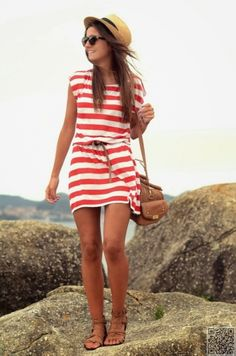 3. #Beach Ready - 25 #Striped Dresses That'll Help You Ring in #Spring ... → #Fashion #Shift