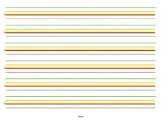 Color coded lined writing paper...green for starting at the top, yellow area for lower case letters to stay within base and mid lines, red line at ...