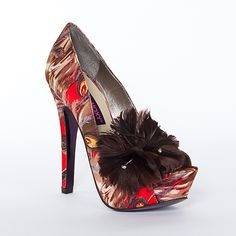 Mojo Moxy pumps with feather - shut the front door!!