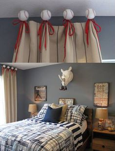 A playful baseball themed window treatment any kid would love in a boy's bedroom in the BIA Parade of Homes in Columbus, Ohio this year.