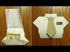 fold a missionary card ( or Dad birthday card or Father's Day card) Part 1: shirt folding, origami