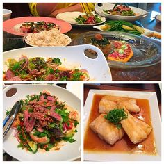 I wanted to serve something new to my family. A chef at work told me if I can cook an Asian dish. So fuck here they are #dericious 처음 시도한 태국식 샐러드에 여러가지 해봤어요  p.s. 우리 엄마는 항상 팔꿈치를 테이블에 올리고 와인을 마신다 #momspagetti #thai #beefsalad #tataki #misocod #homemade #먹스타그램 #요으리 #쿡스타그램 #비프샐러드 #대구요리 #쉬는날 by gunwiththewind