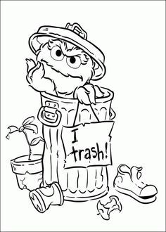 """Coloring page of Oscar the Grouch and """"I love Trash"""" sign."""