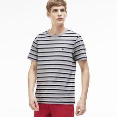 Herren-T-Shirt aus gestreiftem Jersey mit Rundhalsausschnitt