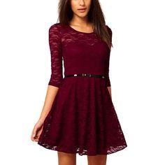 Damen Prinzessinnen Kleider Lange Spitzenkleid Elegante Abendkleider Mit Gürtel (Small, Weinrot) Fashion Season http://www.amazon.de/dp/B00HJJ3YQM/ref=cm_sw_r_pi_dp_n7oqub0FHS8NQ