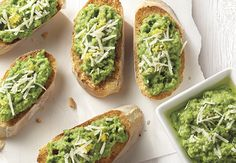 """Your party guests will be begging for you to share this Pea """"Pesto"""" Crostini recipe with them. And it only takes 25 minutes to make! Gourmet Recipes, Healthy Recipes, Aldi Recipes, Basil Pesto, Appetizers For Party, Appetizer Ideas, Appetizer Recipes, Party Appetizers"""