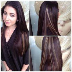 Dark Brown Hair With Blonde Peekaboo Highlights