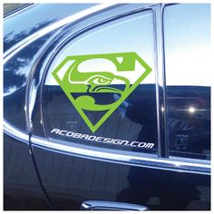 Seattle Seahawks Superman lime green car vinyl by AcobaDesign
