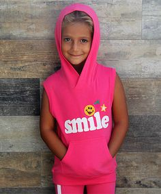 Another great find on #zulily! Pink 'Smile' Ear Sleeveless Hoodie - Toddler & Girls #zulilyfinds