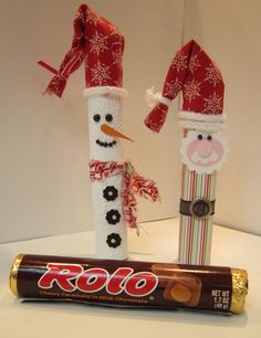 So, slice a toilet paper tube, make a smaller diameter, glue or tape into place, insert Rolo bar, then decorate as picture says so once the bar is gone you have a cute little tree ornament. Or just wrap the paper around and throw it all away when you are done. (in the recycle bin - of course!)