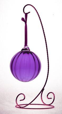 Purple Glass Vertical Ornament Ball