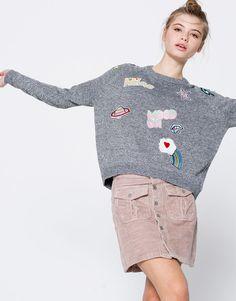 Pull&Bear - žena - novinky - odevy - patches sweater - ecru/black - 09558339-I2016