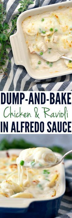 Just 5 ingredients, 5 minutes of prep, and you don't even have to boil the pasta for this Dump-and-Bake Chicken & Ravioli in Alfredo Sauce! The perfect easy dinner for busy families!