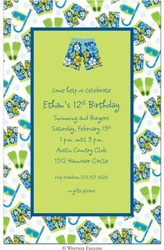 swim pool splash party childrens birthday invitations