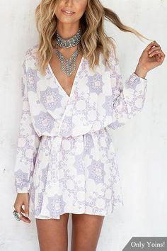 Random Floral Pattern Wrap Front Long Sleeves Mini Dress