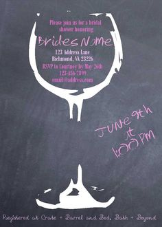 Wine Bridal Shower Invite. $18.00, via Etsy.