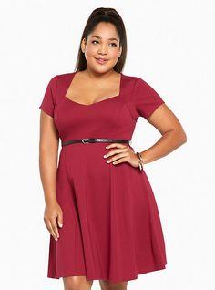 Plus Size Ponte Skater Dress, BEET RED