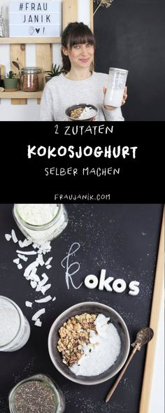 FODMAP-poor recipe in German: coconut yoghurt from 2 ingredients. Like Chiapudding - goes great with breakfast for breakfast or as a snack. Suitable for food intolerance or food intolerance such as lactose intolerance, fructose intolerance, gluten in Vegetarian Breakfast, Vegan Breakfast Recipes, Vegan Desserts, Vegan Recipes, Fructose Intolerance, Food Intolerance, Chia Pudding Vegan, Dessert Sans Gluten, Vegetable Protein