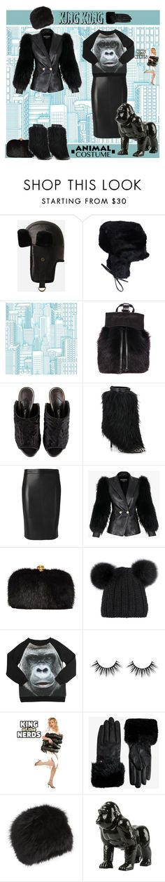 """60-Second Style: Animal Costume King Kong"" by yours-styling-best-friend ❤ liked on Polyvore featuring Eugenia Kim, York Wallcoverings, DESA, Tom Ford, Giuseppe Zanotti, Dsquared2, Balmain, Alexander McQueen, Popupshop and Ted Baker"