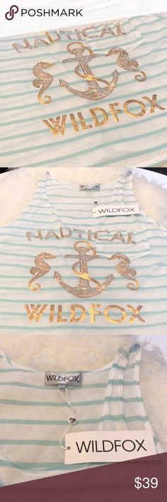 Wildfox Nautical Seahorse Tank, Large NWT  W14179 Wildfox Nautical Seahorse Tank, Large, New with Tags.  Super fun White and mint striped jersey tank with a relaxed fit.  Breast pocked and colored metallic print. Wildfox Tops Tank Tops