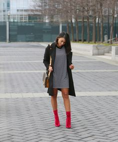 Valentines Day: Brunch Date – Oversized tee outfit, black and white dress, red velvet booties, Christian paul watch, meat watch, women's style, women's fashion