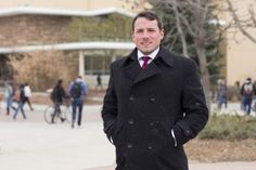 Senior Political Science major, Jason Sydoriak, selected as one of the 2015 Truman Finalists exhibits continued leadership qualities early Wednesday, even during chilly mornings on the plaza. (Photo credit: Topher Brancaccio)