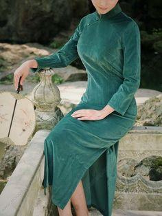 Women's Cotton Ankle-length Green Long-sleeve Winter Thicken Cheongsam Dress - USD $ 111.00