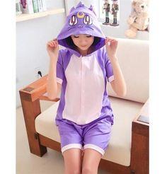 Anime Unisex Pajamas Animal Cotton Adult 2016 Short Pijamas Onesie Kawaii Cat Purple Pyjamas Summer Hoodie faxxP5Ywq