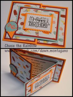 CTMH 'Sugar Rush' papers are perfect for this Joy Fold card and the ice cream l Great birthday card idea! CTMH 'Sugar Rush' papers are perfect for this Joy Fold card and the ice cream lover on your list! Joy Fold Card, Fun Fold Cards, Folded Cards, Cool Birthday Cards, Handmade Birthday Cards, Greeting Cards Handmade, Diy Birthday, Ideas For Birthday Cards, Art Carte
