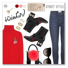 """""""Sweater Weather"""" by dressedbyrose ❤ liked on Polyvore featuring Gucci, Frame, Les Petits Joueurs, Miss Selfridge, Nordstrom, Casetify and Eve Snow"""