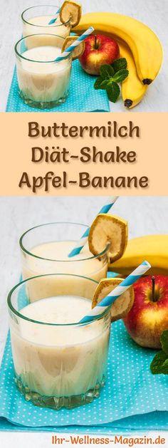 Buttermich-Shake mit Apfel und Banane - ein Rezept mit viel Eiweiß und wenig Kalorien, perfekt zum Abnehmen, gesund und lecker ...