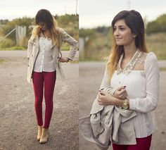 White Sheer Button Up Blouse + Short Khaki Trench + Red Skinny Jeans + Tan Suede Ankle Boots