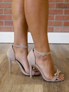 These dressy sandals are adorable and so versatile. The adjustable ankle strap, 4 heel, faux suede, adorable bow detail, and comfortable arch make these perfect for your next special occasion. Runs true to size. Stilettos, Tiffany Blue Heels, Dressy Sandals, Beautiful High Heels, Ankle Strap Sandals, Shoes Sandals, Shoes Sneakers, Hot High Heels, Studded Heels