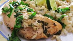 Slow cooker lime chicken with rice. Quick to prepare, delicious flavors, this is a family pleaser! Slow Cooker Recipes, Crockpot Recipes, Chicken Recipes, Cooking Recipes, Lime Chicken, Chicken Rice, Cilantro Chicken, Garlic Chicken, Healthy Cheat Meals