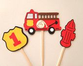 12 Fire Truck Birthday Cupcake Toppers Firetruck Fire Hydrant Fireman's shield with Number by FeistyFarmersWife