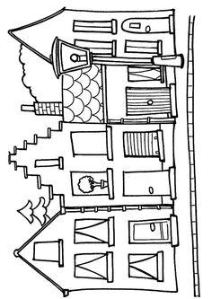 A colorier, les différentes maisons du bord de la rue