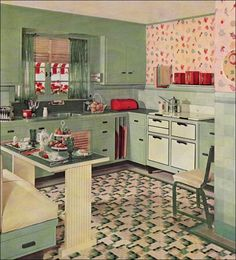 I love this design especially because of the flooring, the built-in table and bench, the vertical storage for cutting boards, etc near the stove, and the green and yellow color scheme.