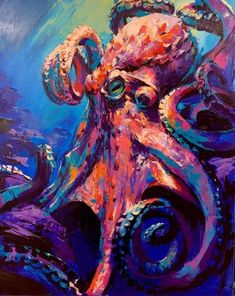 """The King Octopus"" by Dimitri Sirenko Surfboard Painting, Octopus Painting, Octopus Drawing, Octopus Artwork, Underwater Creatures, Ocean Creatures, Kraken Art, Art World, Art Blog"