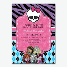 monster high: invitations and party free printables. | tarjetas, Party invitations