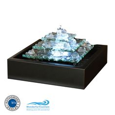 Glacier Ice Tabletop Water Fountain with LED Light
