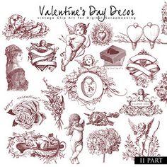 New Freebies Kit hearts, flowers, valentines day Valentine Decorations, Valentine Crafts, Be My Valentine, Valentines Recipes, Vintage Clip Art, Vintage Paper, Vintage Style, Decoupage, Printing Supplies