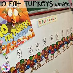 Thanksgiving and turkey themed activities and centers for preschool pre-k and kindergarten. (math literacy fine motor character and more). Thanksgiving Preschool, Fall Preschool, Preschool Activities, Thanksgiving Ideas, Preschool Bulletin, Book Activities, Math Literacy, Kindergarten Math, Literacy Bags