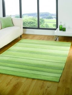 Conservatory Modern Rugs Uk Contemporary Hand Tufted Green Stripes Living