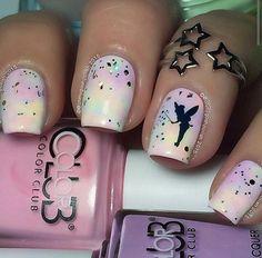 Adorable Tinkerbell nail art