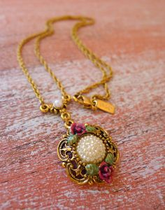 1928 Reproduction Necklace, Victorian Pearl Pendant, Gold Filigree Necklace, Flower Rosettes, by GlitterFoundJewelry on Etsy